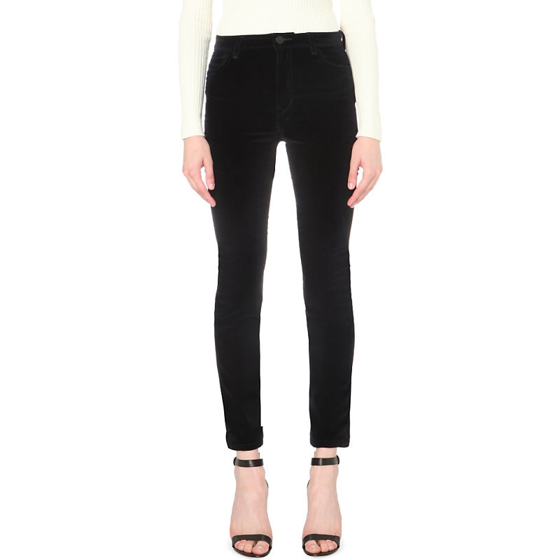 Giverny High Rise Velvet Jeans, Women's, Black/Grey - style: skinny leg; length: standard; pattern: plain; pocket detail: traditional 5 pocket; waist: mid/regular rise; predominant colour: black; occasions: casual; fibres: cotton - stretch; pattern type: fabric; texture group: velvet/fabrics with pile; season: a/w 2016; wardrobe: highlight