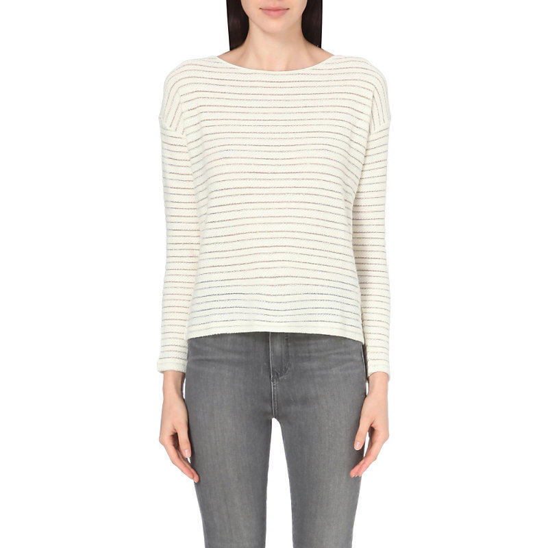 Textured Stripe Top, Women's, Porcelain - pattern: horizontal stripes; style: t-shirt; predominant colour: ivory/cream; secondary colour: stone; occasions: casual; length: standard; fibres: cotton - stretch; fit: body skimming; neckline: crew; sleeve length: long sleeve; sleeve style: standard; pattern type: fabric; pattern size: standard; texture group: jersey - stretchy/drapey; wardrobe: basic; season: a/w 2016