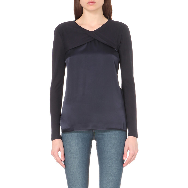 Haiko Jersey Top, Women's, Size: Large, Marine Fonc - neckline: v-neck; predominant colour: mid grey; secondary colour: black; occasions: casual; length: standard; style: top; fibres: viscose/rayon - 100%; fit: body skimming; sleeve length: long sleeve; sleeve style: standard; pattern type: fabric; pattern: colourblock; texture group: jersey - stretchy/drapey; multicoloured: multicoloured; season: a/w 2016