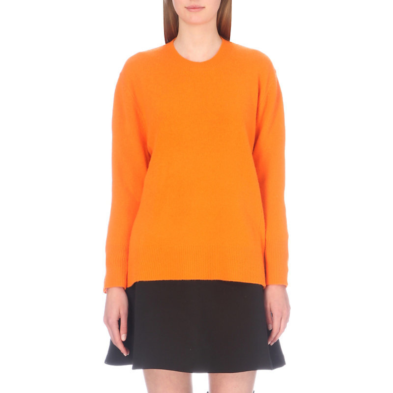 Dylan Wool Jumper, Women's, Size: Small, Orange - pattern: plain; style: standard; predominant colour: bright orange; occasions: casual; length: standard; fibres: wool - 100%; fit: standard fit; neckline: crew; sleeve length: long sleeve; sleeve style: standard; texture group: knits/crochet; pattern type: knitted - fine stitch; season: a/w 2016; wardrobe: highlight