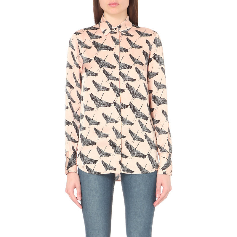 Freedom Bird Print Satin Shirt, Women's, Size: Medium, Beige - neckline: shirt collar/peter pan/zip with opening; style: shirt; predominant colour: blush; secondary colour: charcoal; occasions: casual; length: standard; fibres: viscose/rayon - 100%; fit: body skimming; sleeve length: long sleeve; sleeve style: standard; pattern type: fabric; pattern size: light/subtle; pattern: patterned/print; texture group: jersey - stretchy/drapey; multicoloured: multicoloured; season: a/w 2016