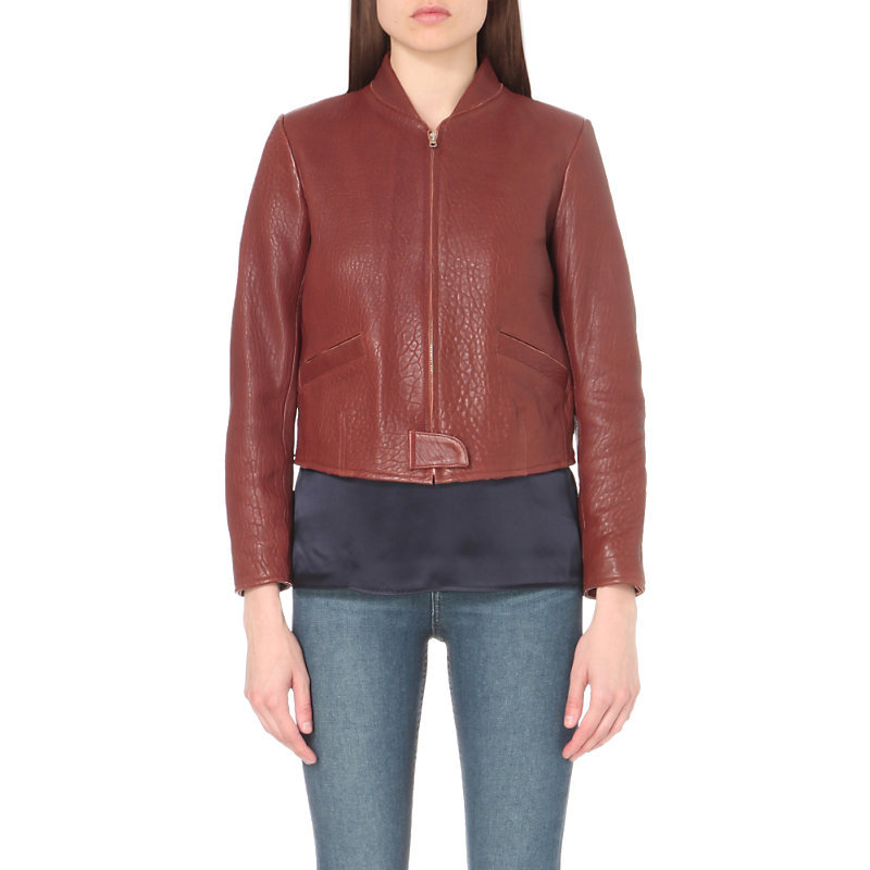 Sweet Jane Leather Jacket, Women's, Size: Small, Marron - pattern: plain; collar: round collar/collarless; style: bomber; predominant colour: burgundy; occasions: casual, creative work; length: standard; fit: straight cut (boxy); fibres: leather - 100%; sleeve length: long sleeve; sleeve style: standard; texture group: leather; collar break: high; pattern type: fabric; season: a/w 2016; wardrobe: highlight