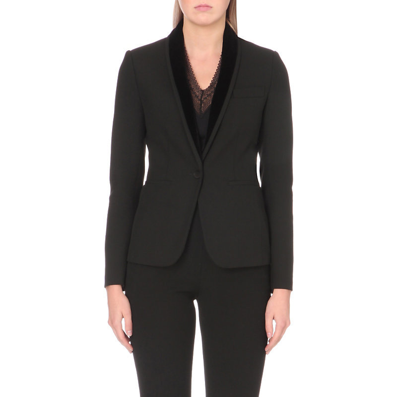 Vonka Stretch Crepe Jacket, Women's, Black - pattern: plain; style: single breasted blazer; collar: shawl/waterfall; predominant colour: black; occasions: work, creative work; length: standard; fit: tailored/fitted; fibres: polyester/polyamide - stretch; sleeve length: long sleeve; sleeve style: standard; collar break: medium; pattern type: fabric; texture group: woven light midweight; wardrobe: investment; season: a/w 2016