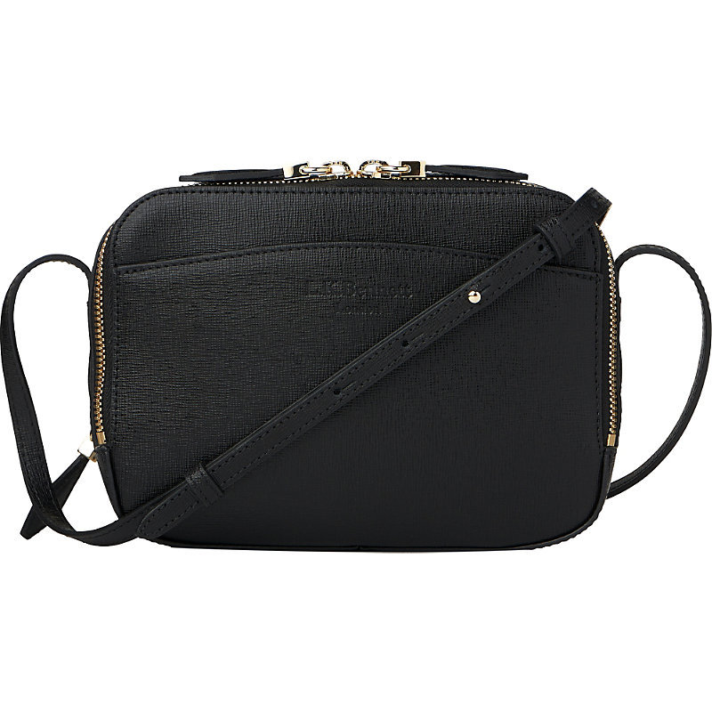 Mariel Leather Cross Body Bag, Women's, Bla Black - predominant colour: black; occasions: casual, creative work; type of pattern: standard; style: shoulder; length: shoulder (tucks under arm); size: small; material: leather; pattern: plain; finish: plain; wardrobe: investment; season: a/w 2016