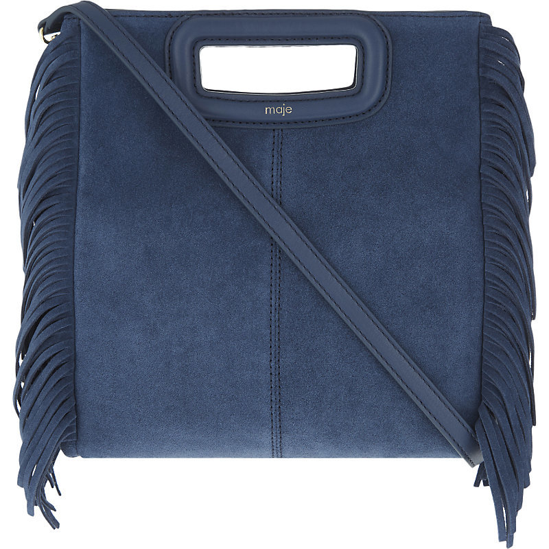 The M Suede Cross Body Bag, Women's, Size: Medium, Bleu - predominant colour: denim; occasions: casual, creative work; type of pattern: standard; style: tote; length: handle; size: standard; material: leather; embellishment: tassels; pattern: plain; finish: plain; season: a/w 2016; wardrobe: highlight