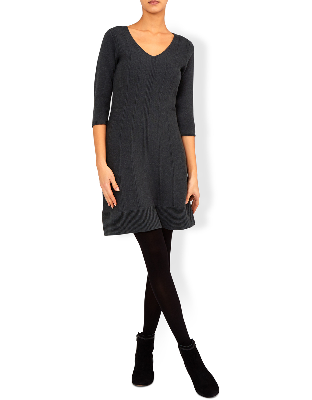 Faye Fit And Flare Knitted Dress - neckline: v-neck; pattern: plain; predominant colour: charcoal; occasions: casual, work, creative work; length: just above the knee; fit: fitted at waist & bust; style: fit & flare; fibres: cotton - 100%; sleeve length: 3/4 length; sleeve style: standard; texture group: knits/crochet; pattern type: knitted - fine stitch; wardrobe: basic; season: a/w 2016