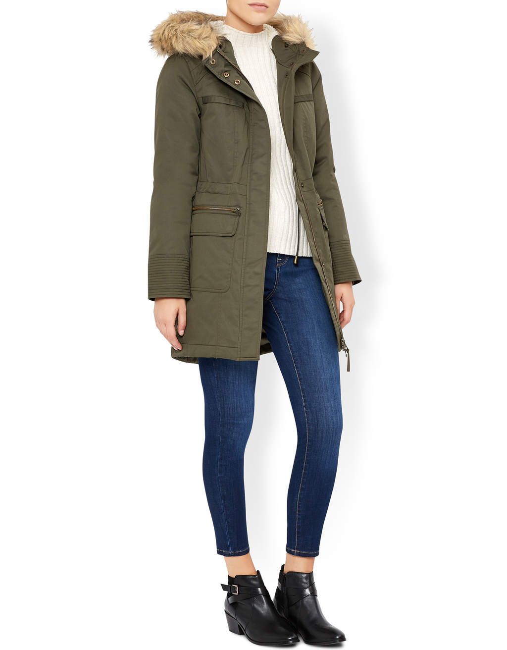 Pip Parka Coat - pattern: plain; length: below the bottom; collar: funnel; style: parka; back detail: hood; secondary colour: camel; predominant colour: khaki; occasions: casual, creative work; fit: straight cut (boxy); fibres: polyester/polyamide - 100%; sleeve length: long sleeve; sleeve style: standard; collar break: high; pattern type: fabric; texture group: woven light midweight; embellishment: fur; season: a/w 2016; wardrobe: highlight; embellishment location: neck