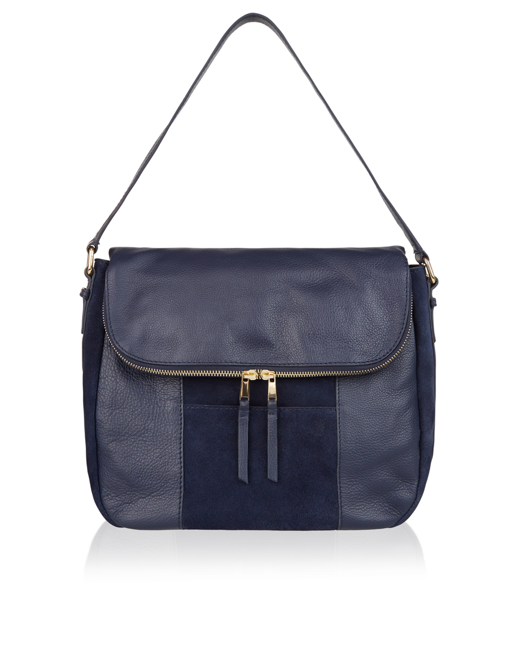 Calypso Suede And Leather Shoulder Bag - predominant colour: navy; occasions: casual, creative work; type of pattern: standard; style: shoulder; length: shoulder (tucks under arm); size: standard; material: leather; pattern: plain; finish: plain; season: a/w 2016
