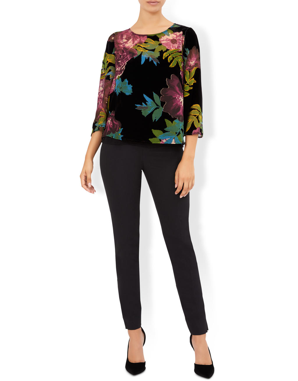 Mable Floral Top - neckline: round neck; secondary colour: purple; predominant colour: black; occasions: casual, creative work; length: standard; style: top; fibres: viscose/rayon - 100%; fit: body skimming; sleeve length: 3/4 length; sleeve style: standard; pattern type: fabric; pattern size: standard; pattern: florals; texture group: jersey - stretchy/drapey; multicoloured: multicoloured; season: a/w 2016