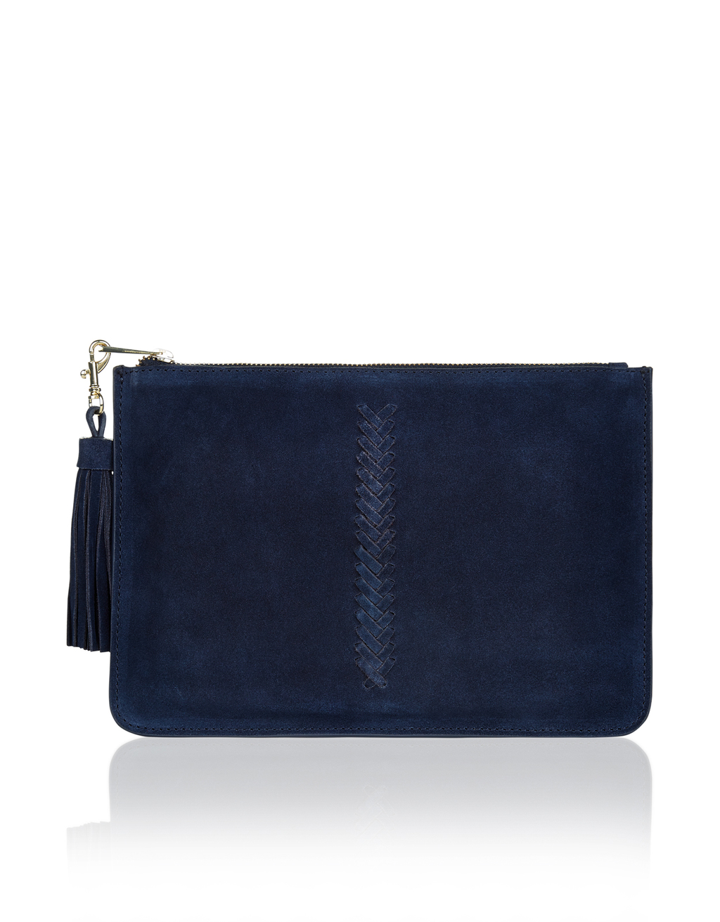 Suede Pouch - predominant colour: navy; occasions: evening, occasion; type of pattern: standard; style: clutch; length: hand carry; size: standard; embellishment: tassels; pattern: plain; finish: plain; material: faux suede; season: a/w 2016; wardrobe: event