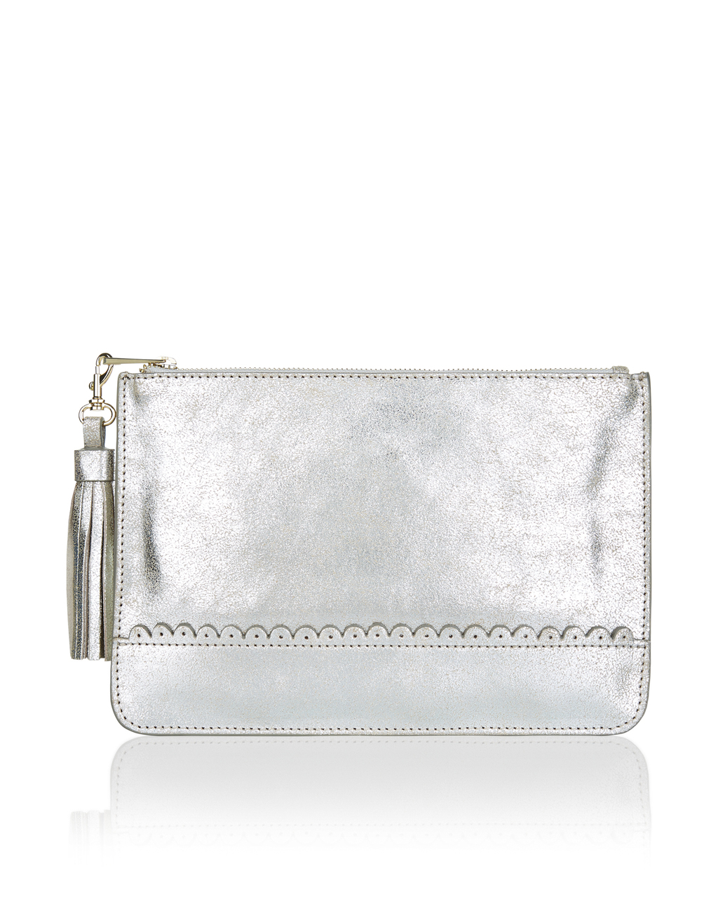 Metallic Pouch - predominant colour: silver; occasions: evening, occasion; type of pattern: standard; style: clutch; length: hand carry; size: small; material: faux leather; pattern: plain; finish: metallic; season: a/w 2016; wardrobe: event; trends: metallics