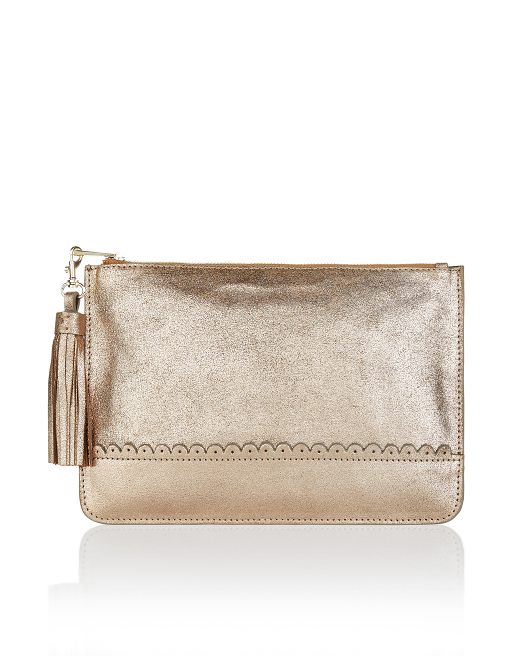 Metallic Pouch - predominant colour: gold; occasions: evening, occasion; type of pattern: standard; style: clutch; length: hand carry; size: small; material: faux leather; embellishment: tassels; pattern: plain; finish: metallic; season: a/w 2016; wardrobe: event; trends: metallics