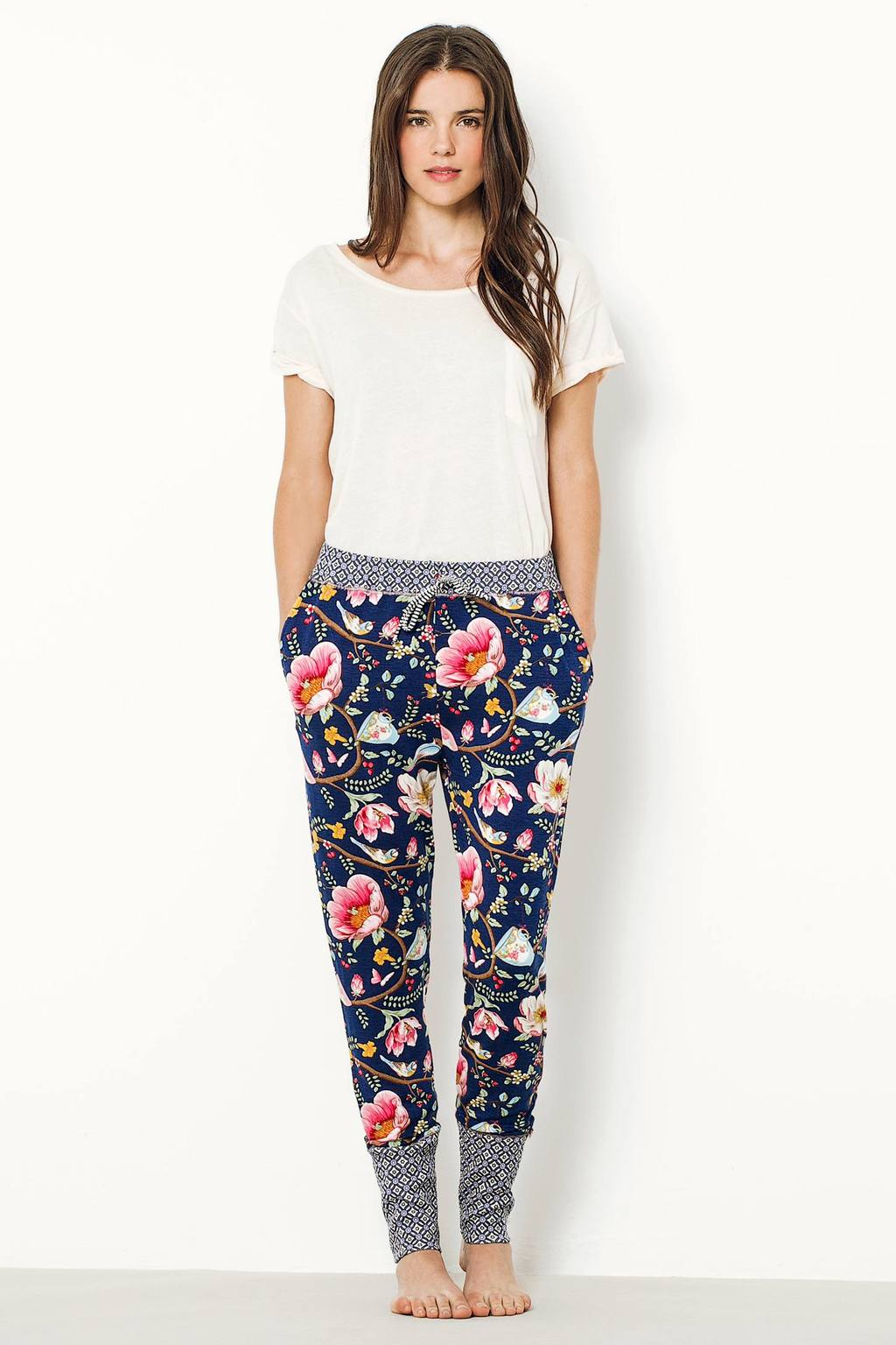 Briar Floral Pyjama Bottoms, Blue - length: standard; style: harem/slouch; waist: mid/regular rise; secondary colour: hot pink; predominant colour: navy; occasions: casual; fibres: cotton - stretch; fit: tapered; pattern type: fabric; pattern: florals; texture group: jersey - stretchy/drapey; multicoloured: multicoloured; season: a/w 2016; wardrobe: highlight