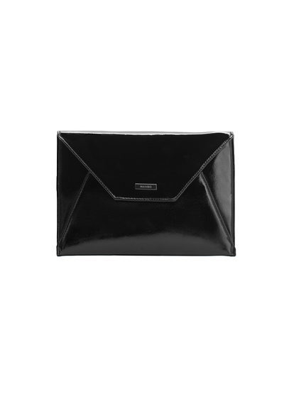 Envelope Clutch - predominant colour: black; occasions: evening, occasion; type of pattern: standard; style: clutch; length: hand carry; size: standard; material: faux leather; pattern: plain; finish: patent; season: a/w 2016; wardrobe: event
