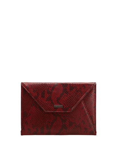 Envelope Clutch - secondary colour: black; occasions: evening, occasion; type of pattern: standard; style: clutch; length: hand carry; size: standard; material: faux leather; pattern: animal print; finish: plain; predominant colour: raspberry; season: a/w 2016; wardrobe: event