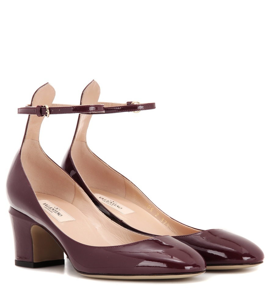 Patent Leather Pumps - predominant colour: burgundy; occasions: evening; material: leather; heel height: mid; ankle detail: ankle strap; heel: block; toe: round toe; style: courts; finish: patent; pattern: plain; season: a/w 2016