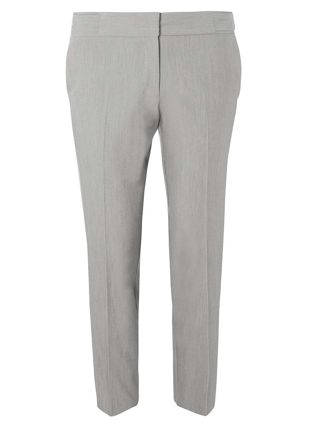 Womens Silver Side Tab Ankle Grazer Trousers Silver - pattern: plain; waist: mid/regular rise; predominant colour: silver; occasions: casual, creative work; length: ankle length; fibres: polyester/polyamide - stretch; fit: slim leg; pattern type: fabric; texture group: woven light midweight; style: standard; pattern size: standard (bottom); season: a/w 2016; wardrobe: highlight