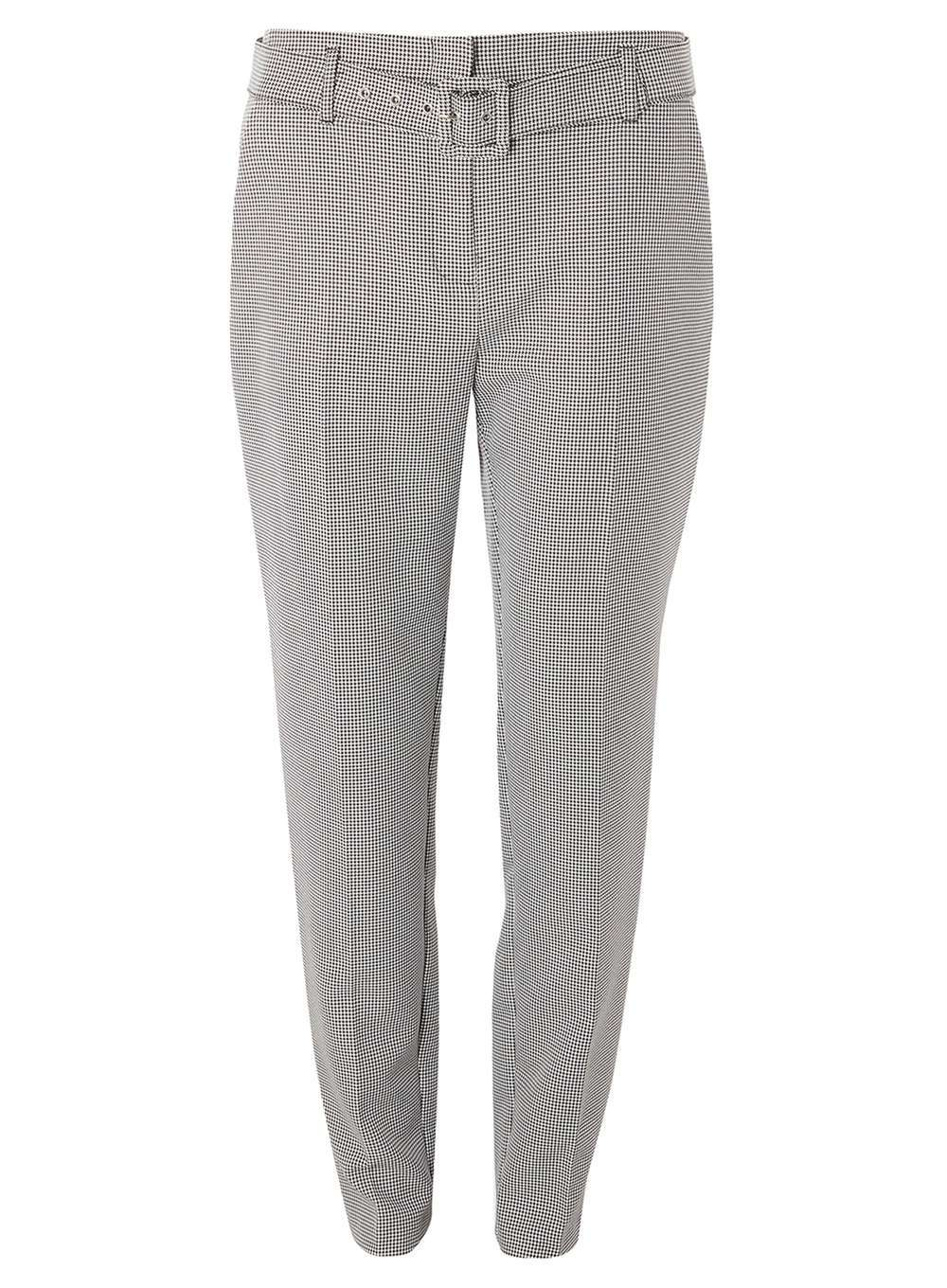Womens **Tall Grey Monochrome Dogstooth Tapered Trousers Black - length: standard; pattern: plain; waist detail: belted waist/tie at waist/drawstring; waist: mid/regular rise; predominant colour: light grey; occasions: casual, creative work; fibres: polyester/polyamide - 100%; fit: slim leg; pattern type: fabric; texture group: woven light midweight; style: standard; wardrobe: basic; season: a/w 2016