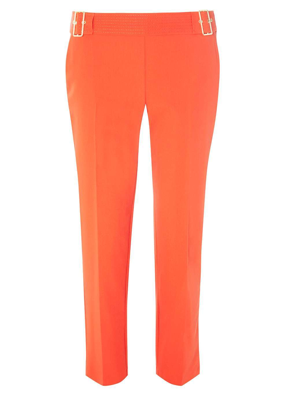 Womens Red Top Stitch Straight Leg Trousers Red - length: standard; pattern: plain; waist: mid/regular rise; predominant colour: bright orange; occasions: casual, creative work; fibres: polyester/polyamide - mix; fit: slim leg; pattern type: fabric; texture group: woven light midweight; style: standard; season: a/w 2016; wardrobe: highlight