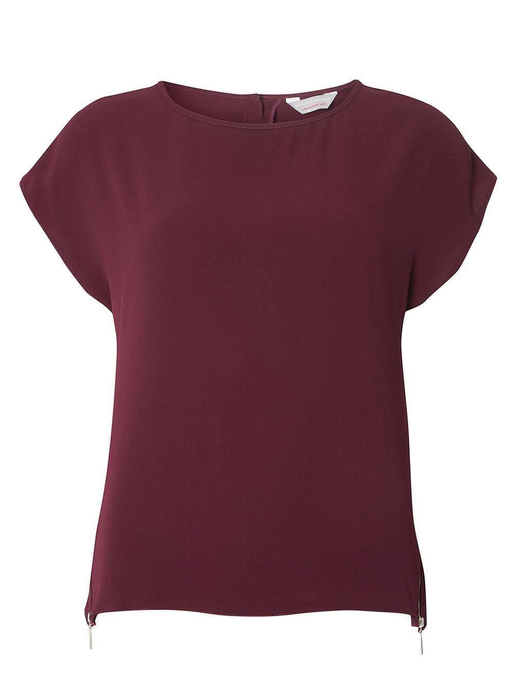 Womens Petite Wine Zip Soft Tee Red - neckline: round neck; sleeve style: capped; pattern: plain; style: t-shirt; predominant colour: burgundy; occasions: casual, work, creative work; length: standard; fibres: polyester/polyamide - stretch; fit: body skimming; sleeve length: short sleeve; pattern type: fabric; texture group: jersey - stretchy/drapey; season: a/w 2016; wardrobe: highlight