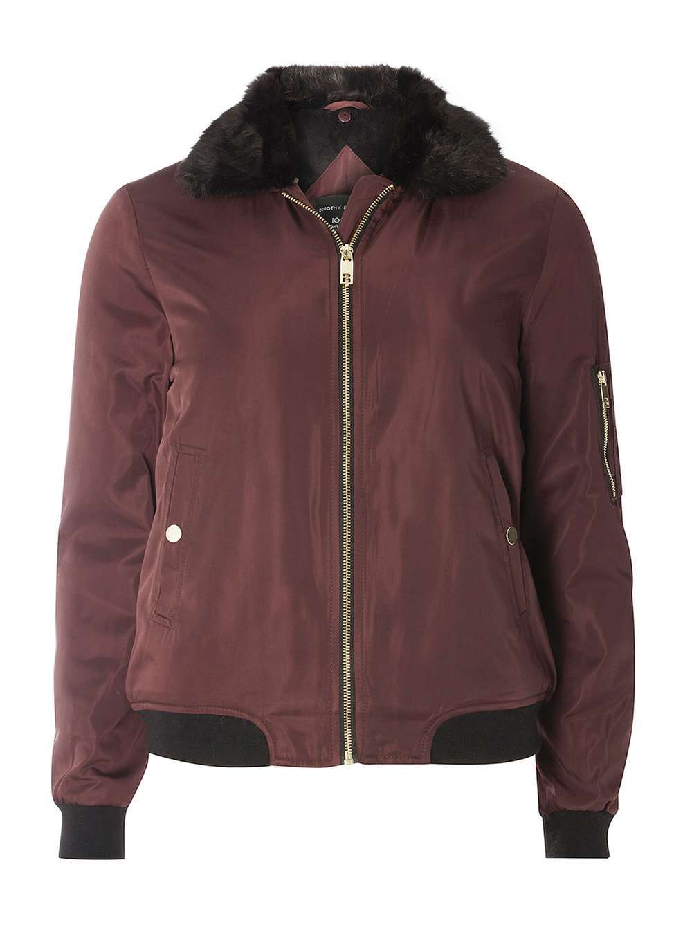 Womens Faux Fur Collar Bomber Red - pattern: plain; fit: loose; style: bomber; predominant colour: burgundy; occasions: casual; length: standard; fibres: polyester/polyamide - 100%; sleeve length: long sleeve; sleeve style: standard; texture group: structured shiny - satin/tafetta/silk etc.; collar: fur; collar break: high; pattern type: fabric; season: a/w 2016; wardrobe: highlight