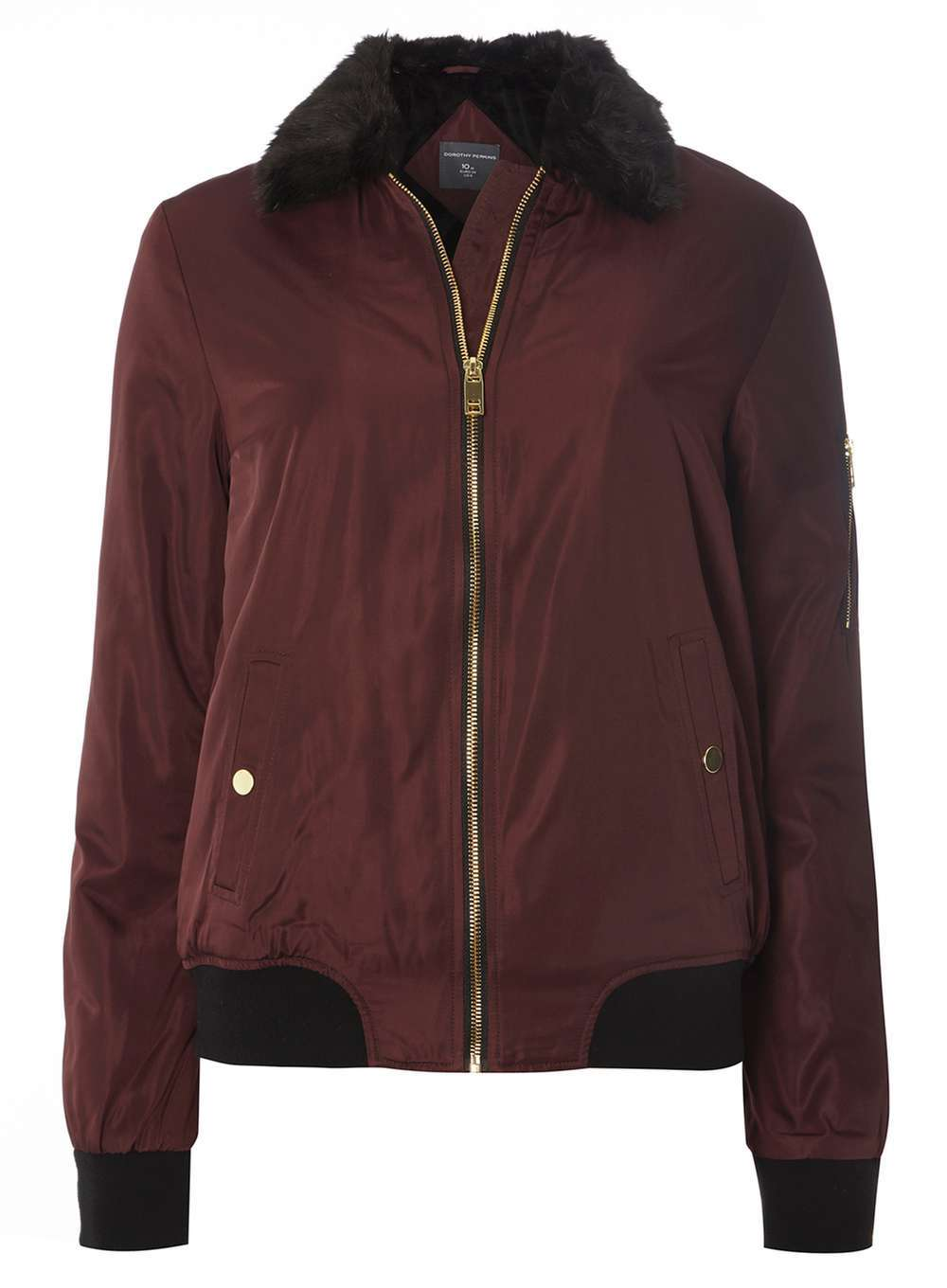 Womens **Tall Faux Fur Collar Bomber Jacket Red - pattern: plain; fit: loose; style: bomber; predominant colour: burgundy; secondary colour: black; occasions: casual; length: standard; fibres: polyester/polyamide - 100%; sleeve length: long sleeve; sleeve style: standard; texture group: structured shiny - satin/tafetta/silk etc.; collar: fur; collar break: high; pattern type: fabric; embellishment: fur; multicoloured: multicoloured; season: a/w 2016; wardrobe: highlight