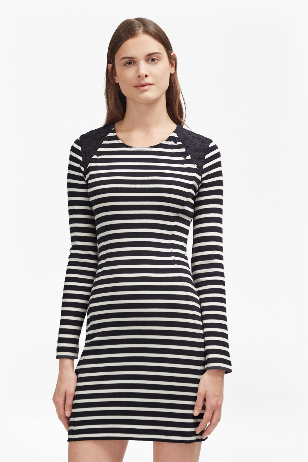 Annie Stripe Tunic Dress Utility Blue/Daisy White - length: mini; fit: tight; pattern: horizontal stripes; style: bodycon; secondary colour: white; predominant colour: navy; occasions: casual; fibres: polyester/polyamide - stretch; neckline: crew; sleeve length: long sleeve; sleeve style: standard; texture group: jersey - clingy; pattern type: fabric; wardrobe: basic; season: a/w 2016
