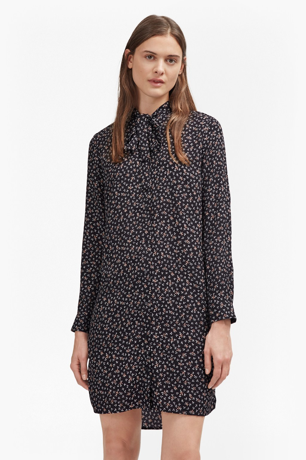Falaise Fleur Print Shirt Dress Utility Blue - style: shirt; length: mid thigh; neckline: pussy bow; predominant colour: navy; secondary colour: stone; occasions: casual, creative work; fit: straight cut; fibres: polyester/polyamide - 100%; sleeve length: long sleeve; sleeve style: standard; pattern type: fabric; pattern: patterned/print; texture group: woven light midweight; season: a/w 2016; wardrobe: highlight