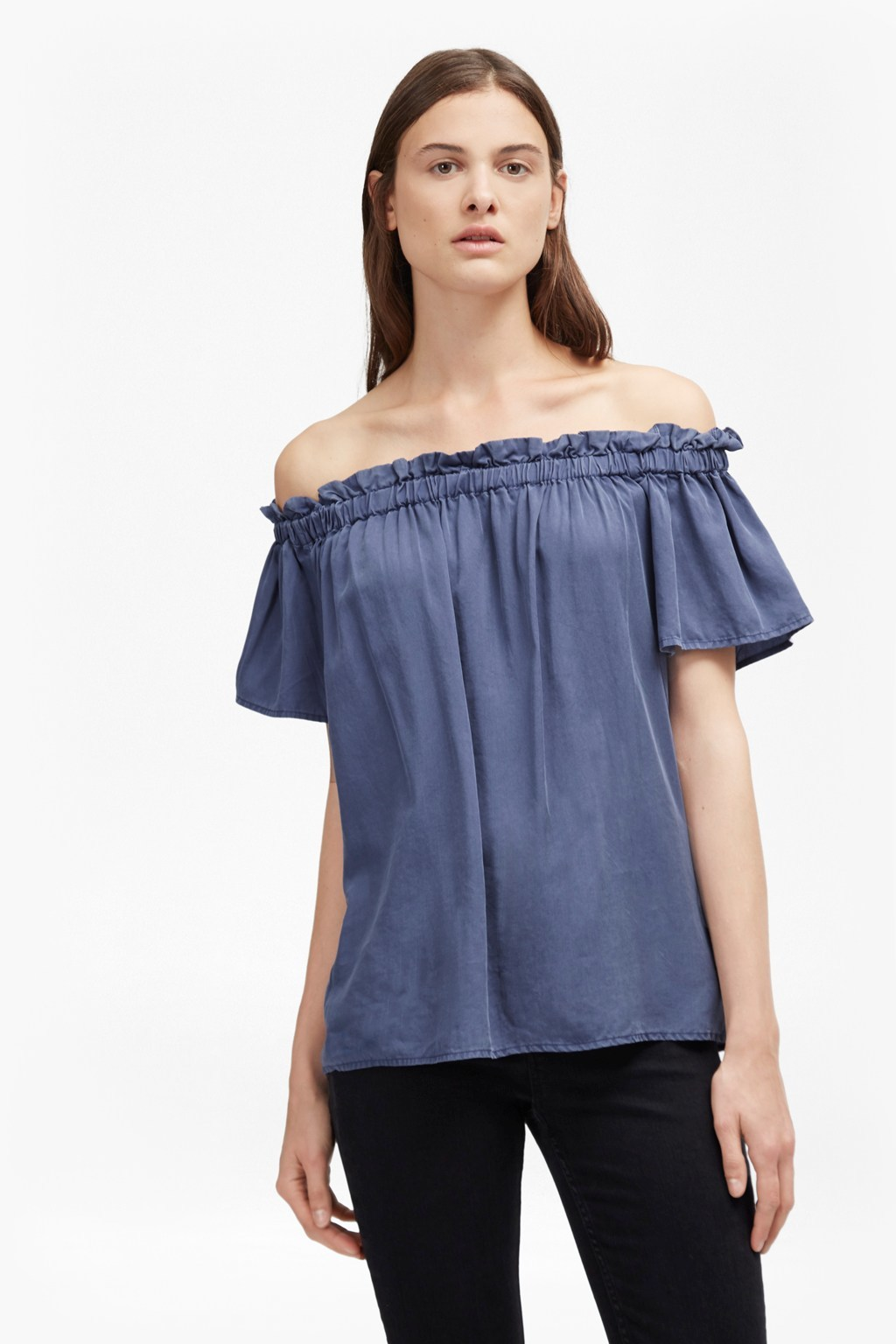 Stayton Cobalt Ruffle Bardot Top Cobalt - neckline: off the shoulder; sleeve style: angel/waterfall; pattern: plain; predominant colour: denim; occasions: casual; length: standard; fibres: cotton - 100%; fit: loose; style: gypsy/peasant; sleeve length: short sleeve; texture group: cotton feel fabrics; pattern type: fabric; season: a/w 2016
