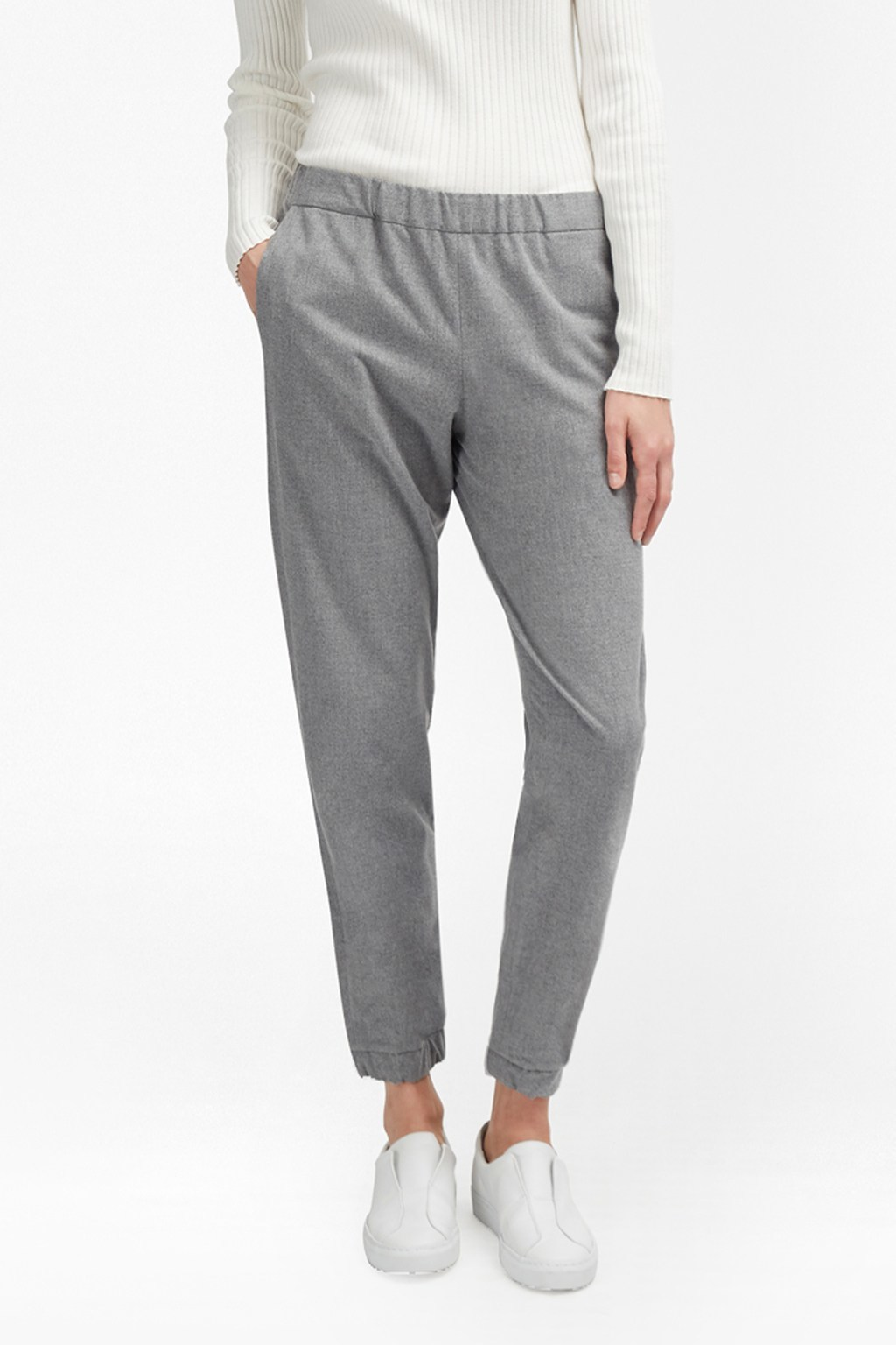 Winter Flannel Jogger Trousers Light Grey Mel - pattern: plain; waist detail: elasticated waist; style: peg leg; waist: mid/regular rise; predominant colour: mid grey; occasions: casual, creative work; length: ankle length; fibres: polyester/polyamide - stretch; fit: tapered; pattern type: fabric; texture group: woven light midweight; pattern size: standard (bottom); wardrobe: basic; season: a/w 2016