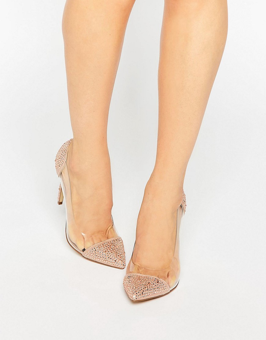 Pristinn Clear Two Part Embellished Court Shoes Blush Glitter Multi - predominant colour: nude; occasions: evening, occasion; material: fabric; heel height: high; embellishment: jewels/stone; heel: stiletto; toe: pointed toe; style: courts; finish: plain; pattern: plain; season: a/w 2016