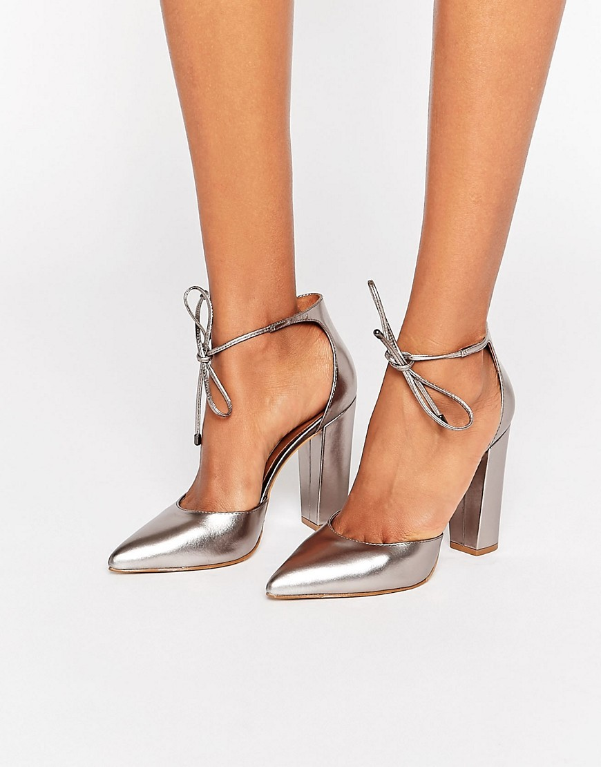 Pampered Pewter Heeled Shoes Pewter Metallic - predominant colour: silver; occasions: evening, occasion; material: leather; heel height: high; ankle detail: ankle tie; heel: block; toe: pointed toe; style: courts; finish: metallic; pattern: plain; season: a/w 2016; wardrobe: event