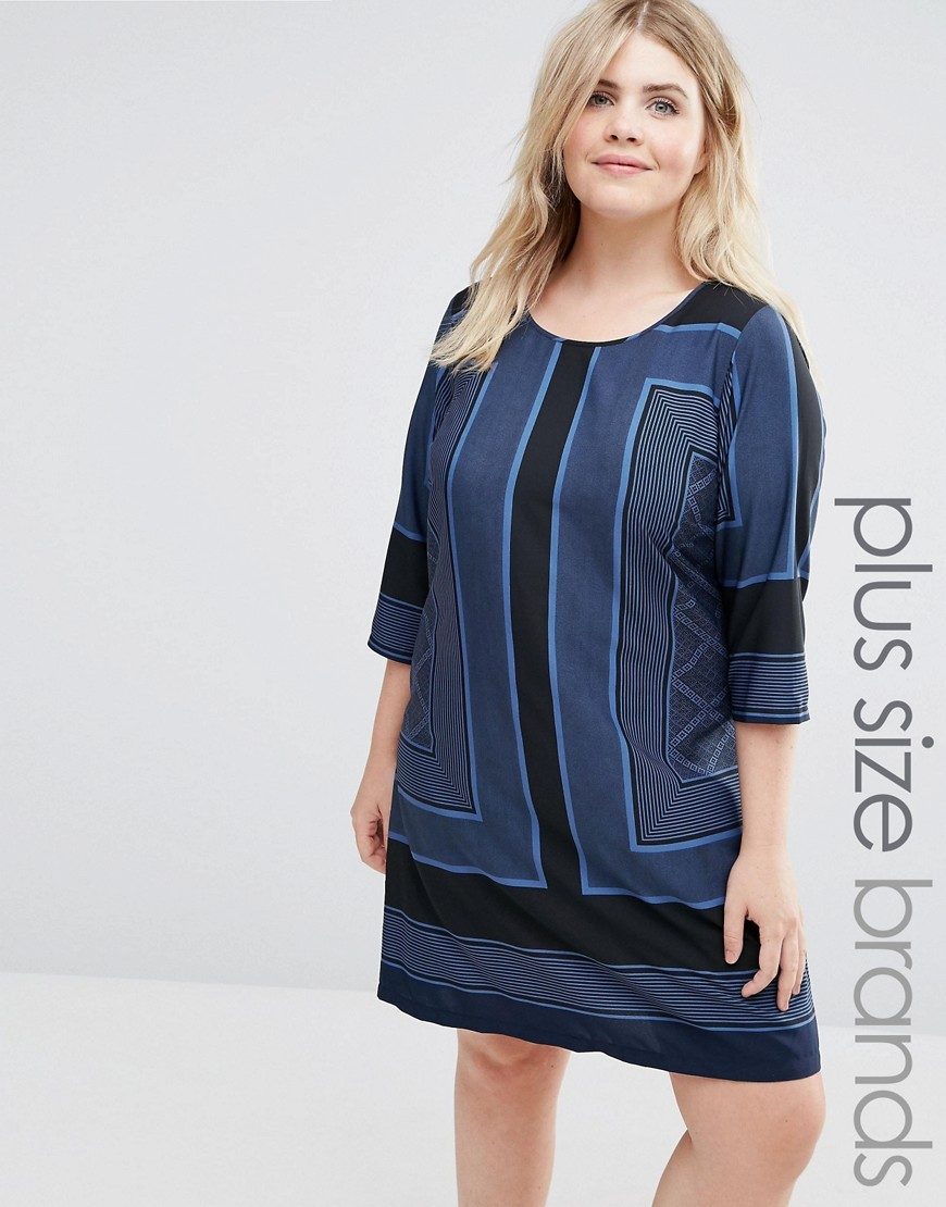 3/4 Sleeve Printed Shift Dress Multi - style: tunic; length: mid thigh; neckline: round neck; predominant colour: navy; secondary colour: black; occasions: casual; fit: straight cut; fibres: polyester/polyamide - 100%; sleeve length: 3/4 length; sleeve style: standard; pattern type: fabric; pattern: patterned/print; texture group: woven light midweight; multicoloured: multicoloured; season: a/w 2016; wardrobe: highlight