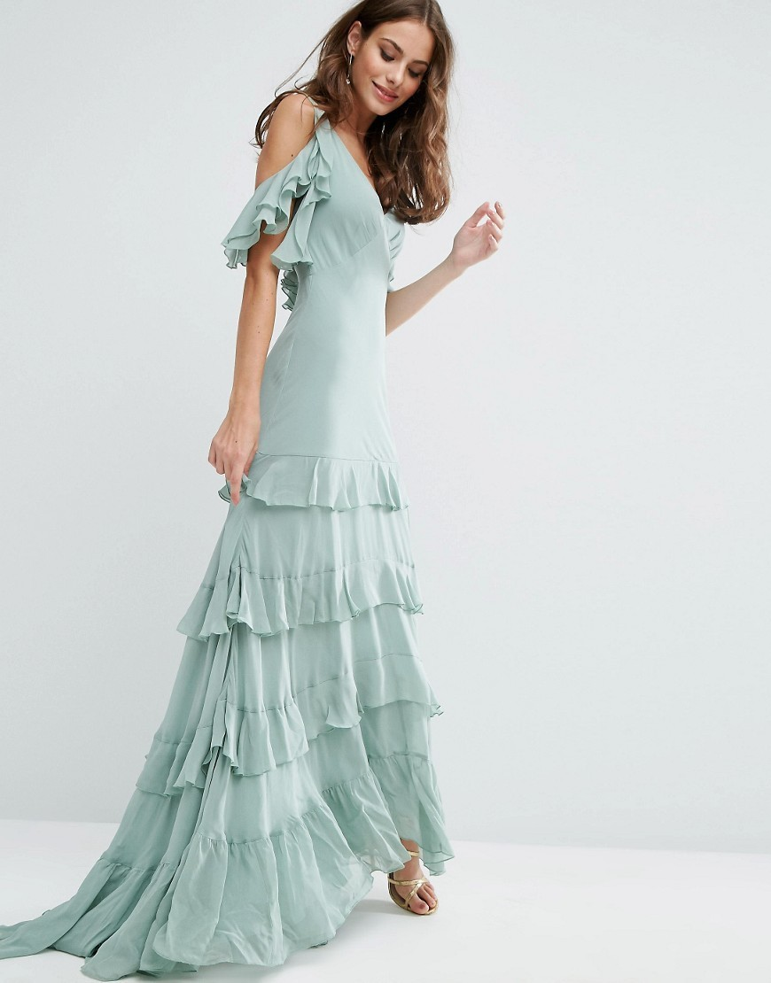 Ruffle Tiered Maxi Dress Mint - neckline: low v-neck; sleeve style: angel/waterfall; pattern: plain; style: maxi dress; predominant colour: pistachio; occasions: evening; length: floor length; fit: body skimming; fibres: polyester/polyamide - 100%; hip detail: adds bulk at the hips; shoulder detail: cut out shoulder; sleeve length: short sleeve; texture group: crepes; pattern type: fabric; season: a/w 2016; wardrobe: event