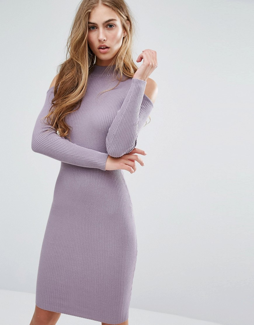 Cold Shoulder Rib Bodycon Dress Mauve - neckline: round neck; fit: tight; pattern: plain; style: bodycon; predominant colour: lilac; occasions: evening, creative work; length: on the knee; fibres: viscose/rayon - stretch; sleeve length: long sleeve; sleeve style: standard; texture group: jersey - clingy; pattern type: fabric; season: a/w 2016; wardrobe: highlight