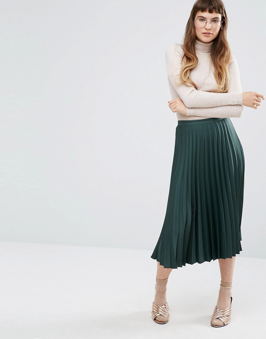 Satin Crepe Pleated Midi Skirt Green - length: calf length; pattern: plain; fit: body skimming; style: pleated; waist: mid/regular rise; predominant colour: dark green; occasions: casual; fibres: polyester/polyamide - 100%; pattern type: fabric; texture group: other - light to midweight; season: a/w 2016; wardrobe: highlight
