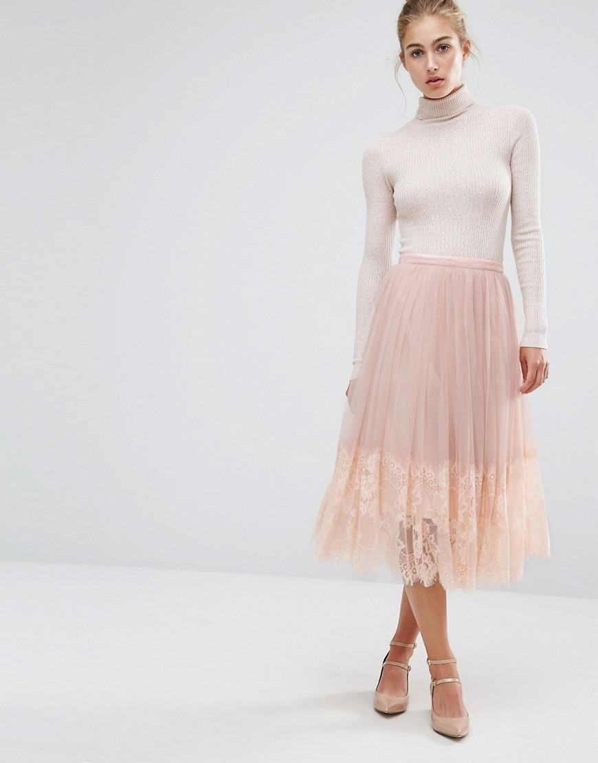 Mesh Midi Prom Skirt Nude - length: calf length; pattern: plain; style: full/prom skirt; fit: loose/voluminous; waist: mid/regular rise; predominant colour: nude; occasions: casual, evening; fibres: polyester/polyamide - 100%; texture group: sheer fabrics/chiffon/organza etc.; pattern type: fabric; wardrobe: basic; season: a/w 2016