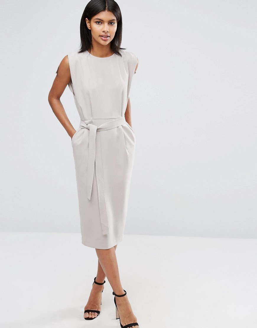 Belted Midi Dress With Split Cap Sleeve And Pencil Skirt Grey - style: shift; length: below the knee; neckline: round neck; fit: tailored/fitted; pattern: plain; sleeve style: sleeveless; waist detail: belted waist/tie at waist/drawstring; predominant colour: ivory/cream; occasions: work; fibres: polyester/polyamide - stretch; sleeve length: sleeveless; pattern type: fabric; texture group: other - light to midweight; wardrobe: investment; season: a/w 2016
