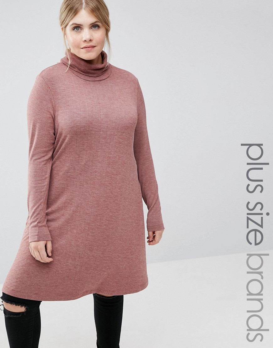 Long Sleeve Roll Neck Dress Maroon - style: smock; length: mid thigh; fit: loose; pattern: plain; neckline: roll neck; occasions: casual; fibres: polyester/polyamide - stretch; sleeve length: long sleeve; sleeve style: standard; pattern type: fabric; texture group: jersey - stretchy/drapey; predominant colour: dusky pink; season: a/w 2016; wardrobe: highlight