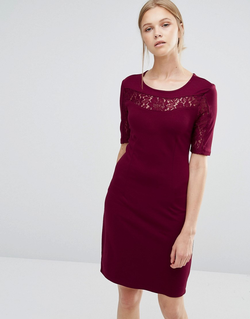 Lace Insert Bodycon Dress Tawny Port - style: shift; pattern: plain; predominant colour: burgundy; occasions: evening; length: on the knee; fit: body skimming; fibres: viscose/rayon - stretch; neckline: crew; sleeve length: short sleeve; sleeve style: standard; pattern type: fabric; texture group: jersey - stretchy/drapey; embellishment: lace; season: a/w 2016; wardrobe: event; embellishment location: bust, sleeve/cuff