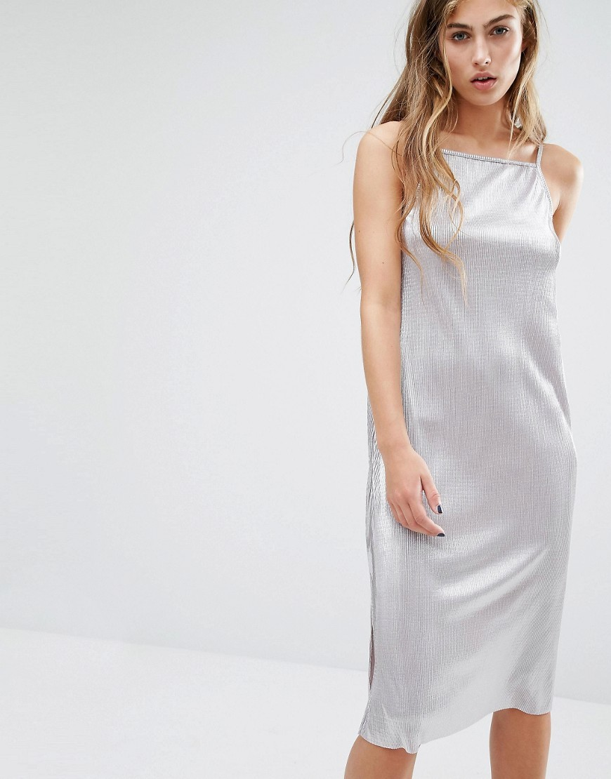 Metallic Slip Midi Dress Silver - length: below the knee; neckline: round neck; sleeve style: spaghetti straps; pattern: plain; hip detail: draws attention to hips; predominant colour: silver; occasions: evening; fit: body skimming; style: slip dress; fibres: polyester/polyamide - 100%; sleeve length: sleeveless; texture group: silky - light; pattern type: fabric; season: a/w 2016; wardrobe: event