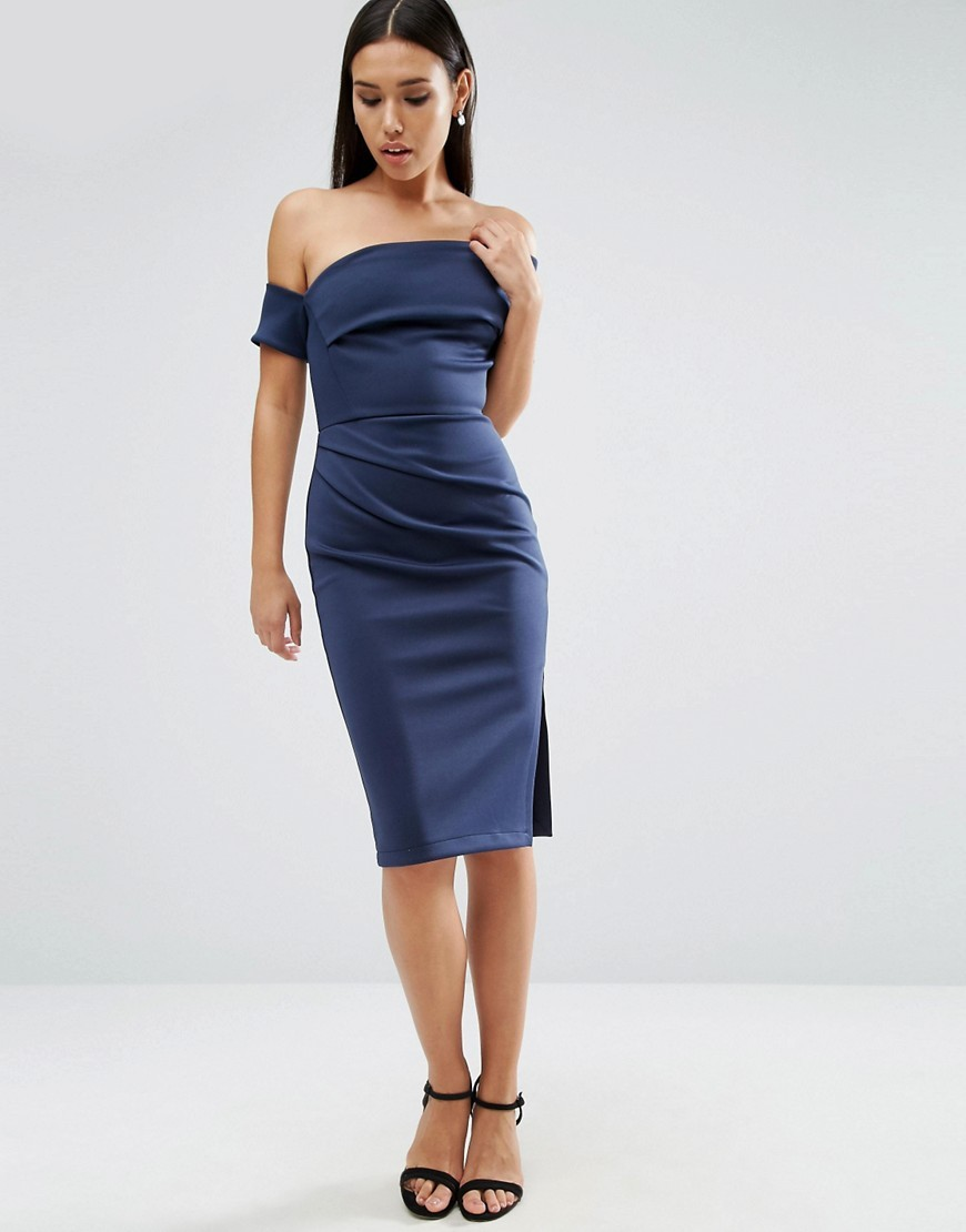 Clean Scuba Midi Cuff One Shoulder Wrap Skirt Dress Navy - neckline: off the shoulder; fit: tight; pattern: plain; style: bodycon; predominant colour: navy; occasions: evening; length: on the knee; fibres: polyester/polyamide - stretch; sleeve length: short sleeve; sleeve style: standard; texture group: jersey - clingy; pattern type: fabric; season: a/w 2016; wardrobe: event