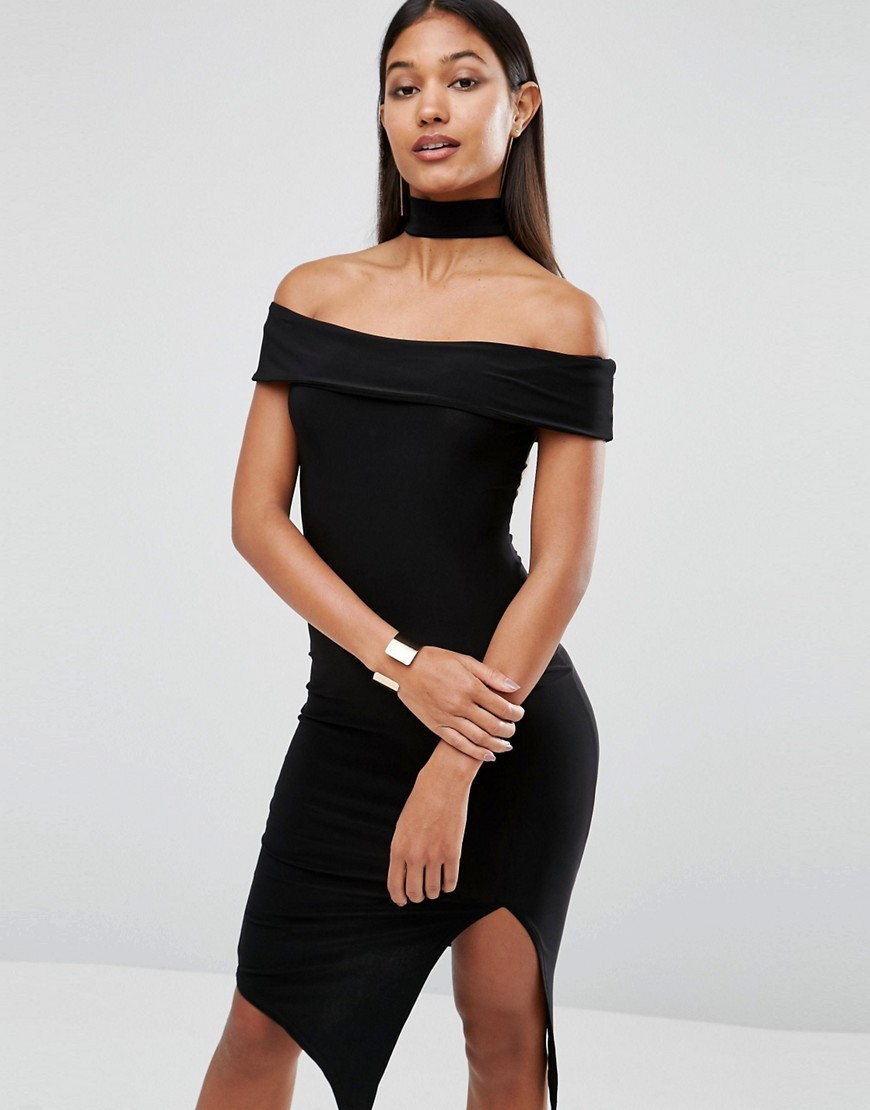 Choker Detail Midi Dress Black - neckline: off the shoulder; sleeve style: capped; fit: tight; pattern: plain; style: bodycon; predominant colour: black; occasions: evening; length: just above the knee; fibres: polyester/polyamide - stretch; sleeve length: short sleeve; texture group: jersey - clingy; pattern type: fabric; season: a/w 2016