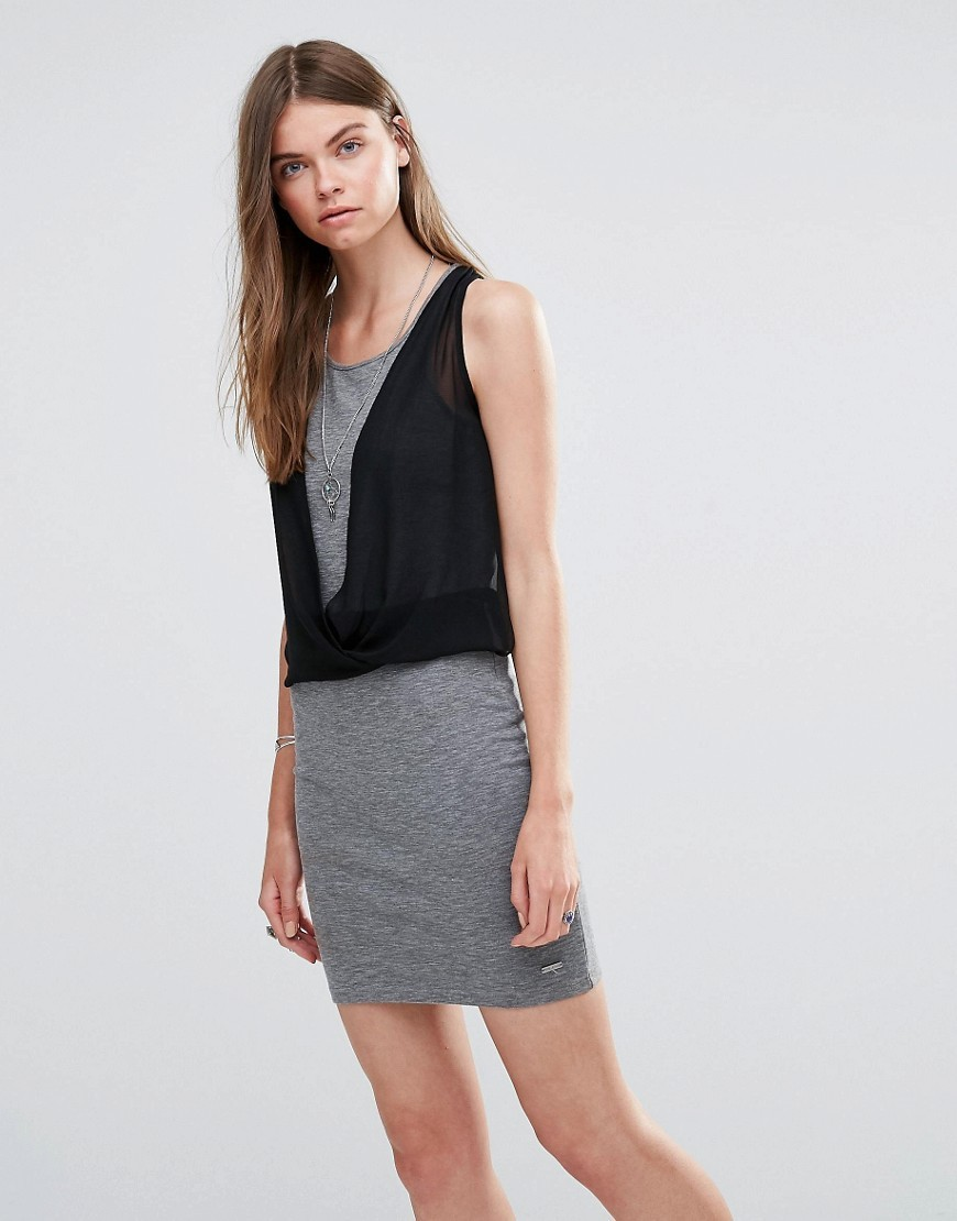 Witney Jersey Dress Grey 963 - style: shift; length: mid thigh; neckline: round neck; pattern: plain; sleeve style: sleeveless; bust detail: ruching/gathering/draping/layers/pintuck pleats at bust; predominant colour: mid grey; secondary colour: black; occasions: casual; fit: body skimming; fibres: cotton - stretch; sleeve length: sleeveless; pattern type: fabric; texture group: jersey - stretchy/drapey; multicoloured: multicoloured; wardrobe: basic; season: a/w 2016