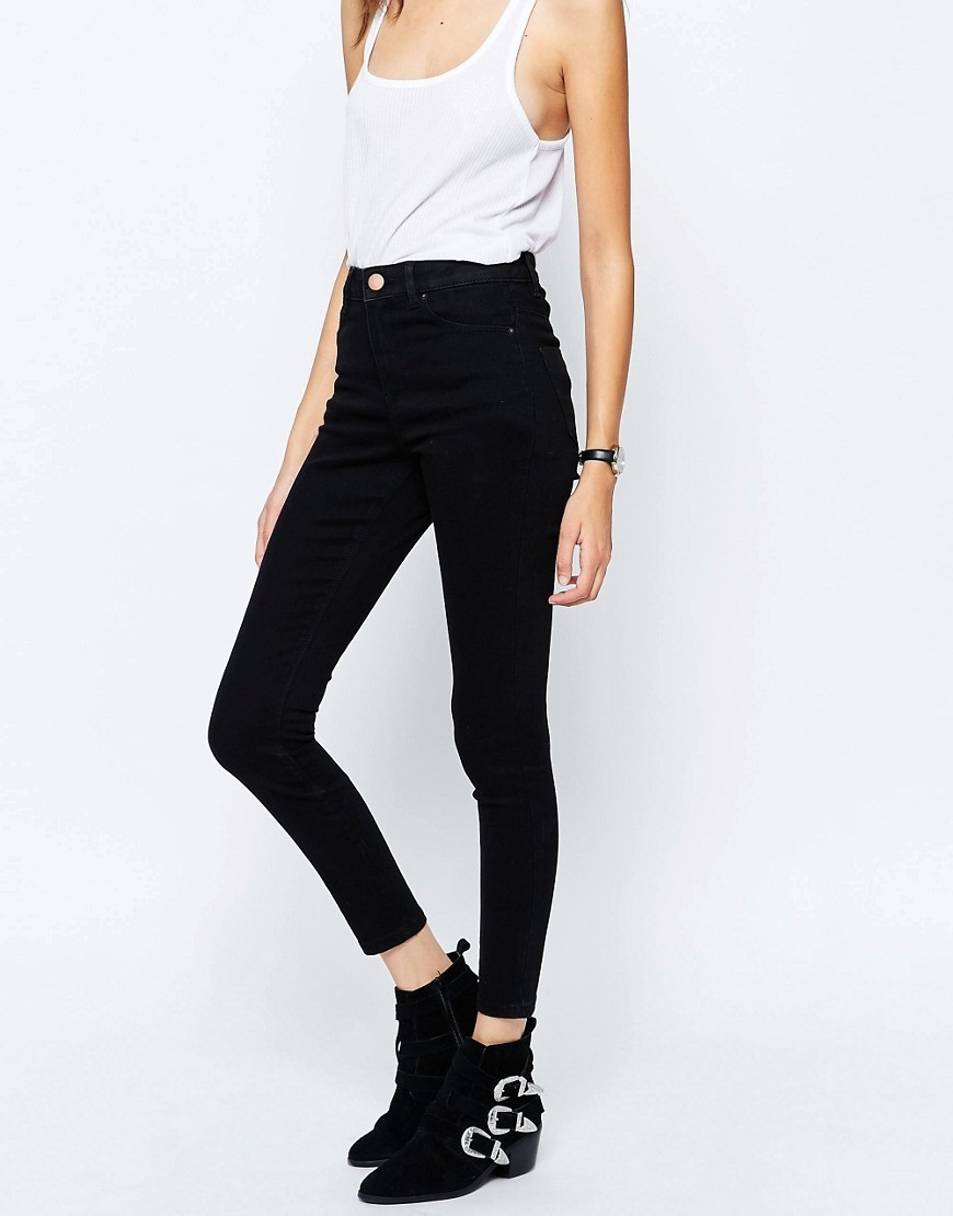 Ridley High Waist Skinny Jeans In Clean Black Black - style: skinny leg; pattern: plain; waist: high rise; predominant colour: black; occasions: casual, evening; length: ankle length; fibres: cotton - stretch; texture group: denim; pattern type: fabric; wardrobe: basic; season: a/w 2016