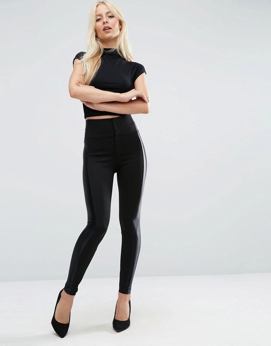 Luxe Side Stripe Skinny Trousers Black - length: standard; pattern: plain; style: leggings; waist detail: elasticated waist; waist: high rise; predominant colour: black; occasions: evening, creative work; fibres: viscose/rayon - stretch; texture group: jersey - clingy; fit: skinny/tight leg; pattern type: fabric; wardrobe: basic; season: a/w 2016