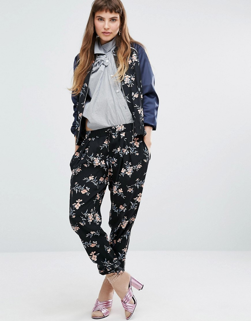 Printed Floral Jogger Black - style: tracksuit pants; waist: low rise; secondary colour: blush; predominant colour: black; occasions: casual, creative work; length: ankle length; fibres: polyester/polyamide - 100%; fit: tapered; pattern type: fabric; pattern: patterned/print; texture group: woven light midweight; multicoloured: multicoloured; season: a/w 2016; wardrobe: highlight