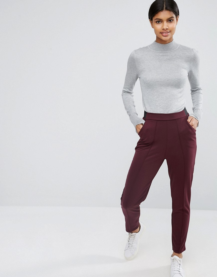 Cigarette Trousers With Seaming Oxblood - pattern: plain; waist: high rise; predominant colour: burgundy; length: ankle length; fibres: polyester/polyamide - 100%; waist detail: feature waist detail; fit: slim leg; pattern type: fabric; texture group: other - light to midweight; style: standard; occasions: creative work; season: a/w 2016; wardrobe: highlight