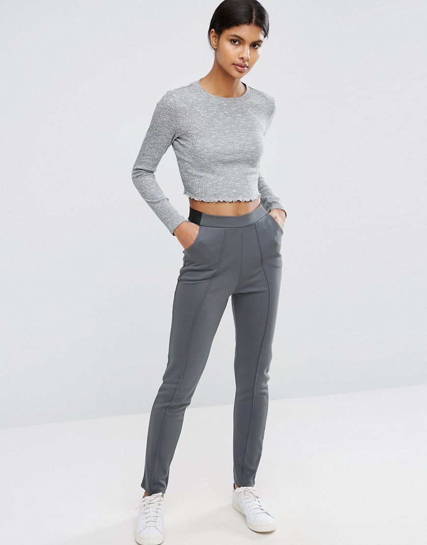 Cigarette Trousers With Seaming Dark Grey - length: standard; pattern: plain; waist: mid/regular rise; predominant colour: mid grey; occasions: casual; fibres: viscose/rayon - stretch; fit: slim leg; pattern type: fabric; texture group: jersey - stretchy/drapey; style: standard; pattern size: standard (bottom); wardrobe: basic; season: a/w 2016
