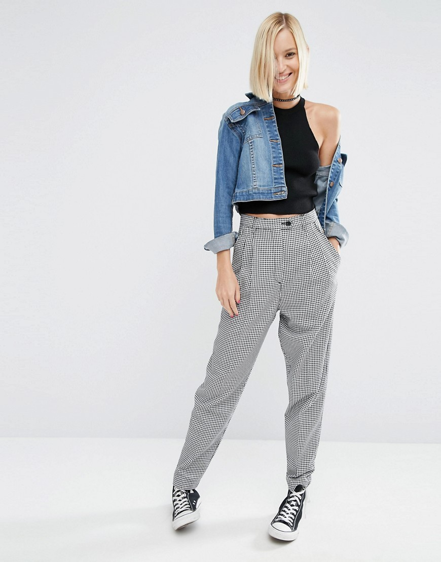High Waisted Peg Trousers In Gingham Check Multi - length: standard; pattern: checked/gingham; style: peg leg; waist: high rise; predominant colour: white; secondary colour: black; occasions: casual, creative work; fibres: polyester/polyamide - mix; fit: tapered; pattern type: fabric; texture group: woven light midweight; pattern size: standard (bottom); season: a/w 2016; wardrobe: highlight